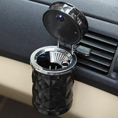 Car Travel Cigarette Cylinder Ashtray LED Holder Cup Auto Truck Lid Ash Tray Can