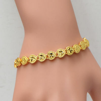 Bracelet Chain Women Hearts Love Clovers Carve Yellow Gold Filled Bangle Gift