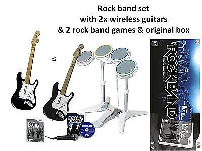 Wii rockband special edition 2 guitars drum kits sticks mic dongle box rock band