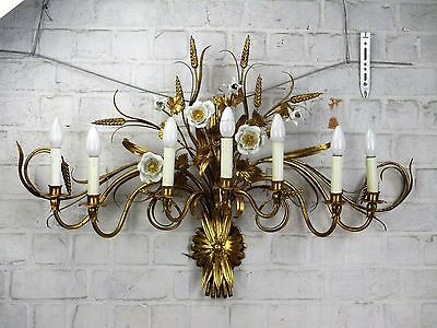 "Exceptional Wall Sconce Hollywood Regency Gold Wheat Flowers Tole 7 Lights 39""W"