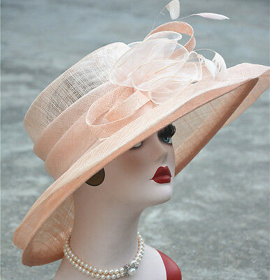 Womens Formal Party Wedding Sinamay Wide Brim Church Bridal Mother's Hat T126