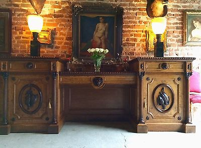 Majestic Antique Sideboard Walnut Buffet Twin Pedestal Victorian19th Century