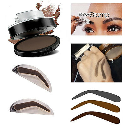 3 Natural Type Stamp +Eyebrow Powder Makeup Brow Delicated Shadow Definition Kit