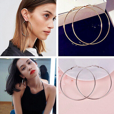 Women Gold Silver Metal Big Circle Smooth Large Ring Hoop Earrings Chic