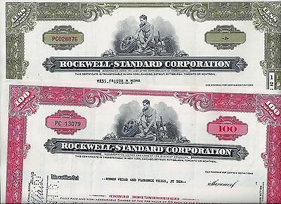 Special: 2 x Rockwell-Standard Corporation, 1964/65 (2+100 Shares) W.J.Rockwell