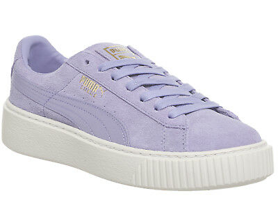 Womens Puma Suede Platform Trainers LAVENDER GOLD SATIN Trainers Shoes
