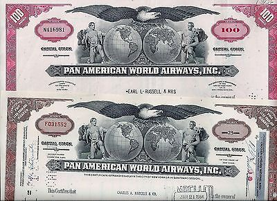 Special: 2 x Pan American World Airways Inc., 1964/67  (25/100 Shares) J. Trippe