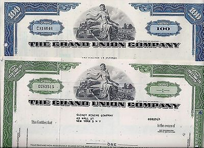 Special: 2 x The Grand Union Company, Delaware, 1966/1972 (1/100 Shares)
