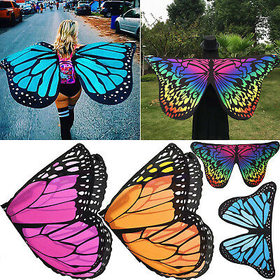 Butterfly Wings Shawl Fairy Costume Nymph Pixie Girl Bikini Cover Up Beach Towel