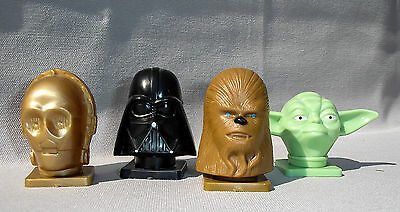 STAR WARS Kopf Büsten Candy Dispenser Set 1995 Vader C3Po Yoda Chewbacca