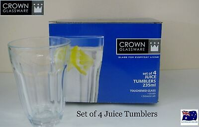 Crown Glassware Set Of 4 Four Juice Tumblers Glasses 235Mls Toughened Glass
