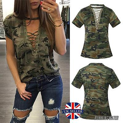 Women Blouse Camouflage Lace up V Neck Fashion Casual Short Sleeve T-Shirt Top