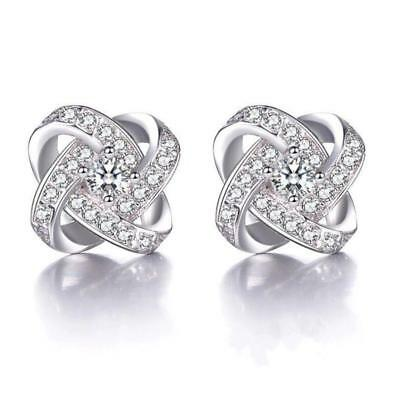 Fashion 925 Sterling Silver Crystal Swirl Stud Earrings Gift Bridal Womens UK