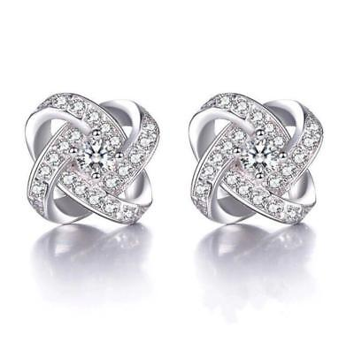 Fashion 925 Sterling Silver Crystal Swirl Stud Round Earrings Jewelry Women Gift