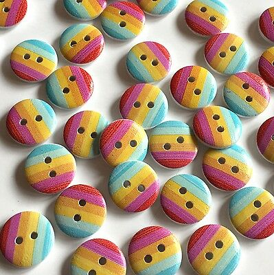 10 x cute summer stripe buttons,pink, yellow and blue stripes, 15mm buttons