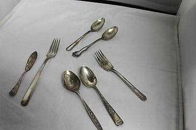 Variety of Collectible Vintage Silver or Silverplate Silverware Forks Spoons