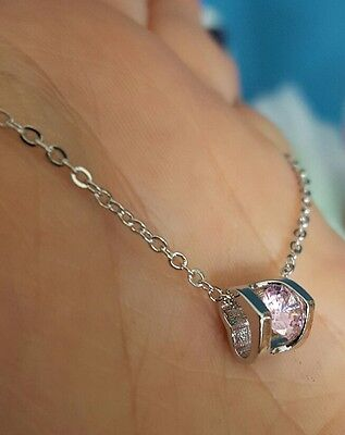 25 x Pink CZ Encased Silver Plated Heart Necklaces - NEW Job Lot Wholesale UK