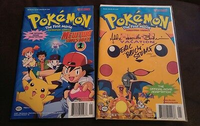"""Pokemon The First Movie Comic Signed By  """"meowth"""" And """"brock"""" Voice Actors"""
