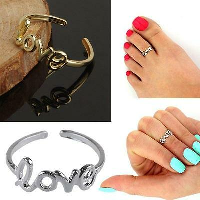 Trendy LOVE Toe Ring In Gold Or Silver Colour. Adjustable Size. UK Seller