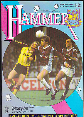 1988/89 WEST HAM UNITED V SWINDON TOWN 01-02-1989 FA Cup 4th Round Replay