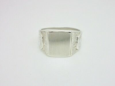 Superb Vintage Art Deco Sterling Silver Blank Unengraved Signet Mens Ring Size R