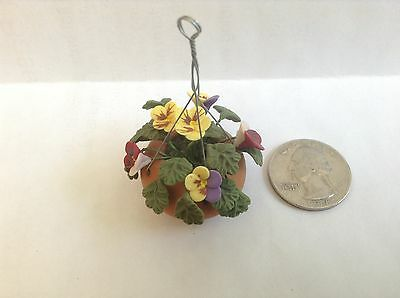 JLWs Dollhouse Miniatures Outdoor Hanging Clay Pot Planter w/Pansies Flowers