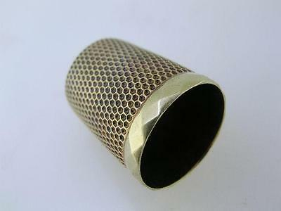 14K Gold SIMONS Thimble w/ diamond pattern border 4.6 grams