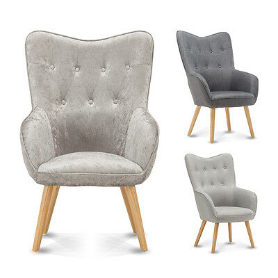 Wingback Occasional Accent Bedroom Chair Silver Crushed Velvet / Grey Fabric