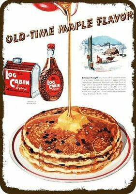 1950 LOG CABIN SYRUP Vintage Look Replica Metal Sign - PANCAKES & MAPLE FLAVOR