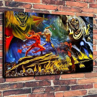 """Iron Maiden Eddie Number Of The Beast Printed Canvas A1.30""""x20""""~Deep 30mm Frame"""