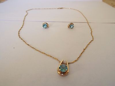 Apatite and 9ct yellow gold necklace and earring set
