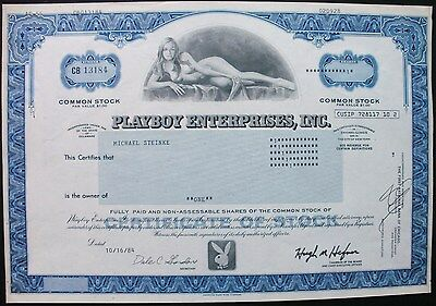 Playboy Stock Certificate, 1 share, 1984