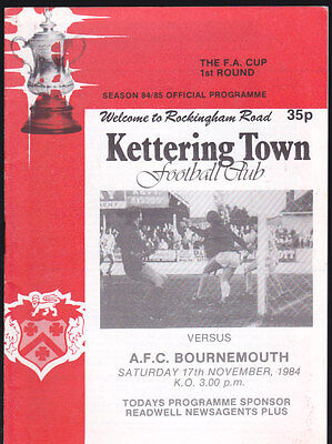 1984/85 KETTERING TOWN V BOURNEMOUTH 17-11-1984 FA Cup 1st Round