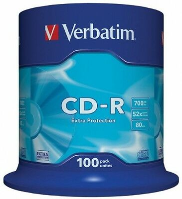 Verbatim 43411 700MB 52x Extra Protection CD-R - 100 Pack Spindle