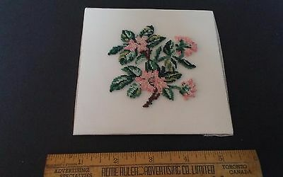 "Vtg Babs Fuhrmann provincial flower petit point completed Mayflower NS 5"" sq"