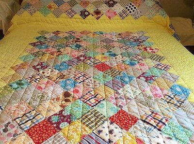 Vintage Postage Stamp Hand Made Quilt Patchwork Lots Of Hand Quilting Great