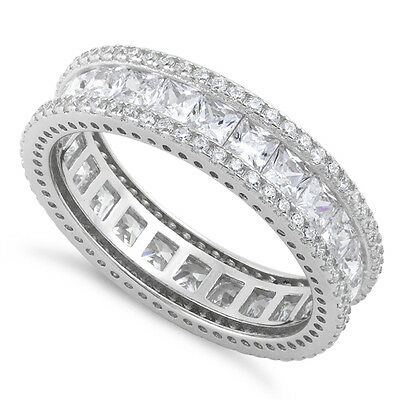 925 Sterling Silver CZ Princess Cut Eternity Band Wedding Ring sz 4-13