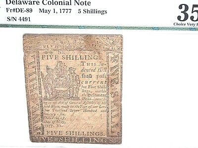 Delaware Colonial Currency 1777, 5 sh, PMG CH VF 35