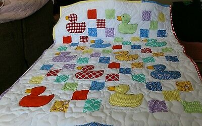 Handcrafted Handmade Applique Boy Girl Duck 9-Patch Baby Crib Lap Throw Quilt