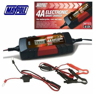 6V/12v 4A Electronic Smart Car Battery Fast Trickle Charger WET AGM ACID Maypole