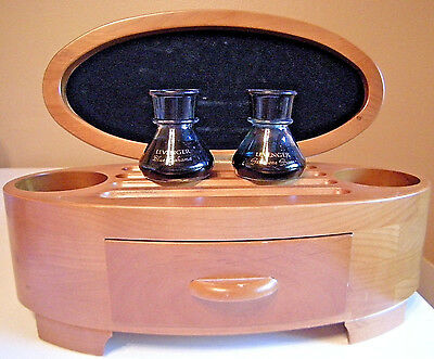 Levenger Inkwell Bottles With Blond Wood Inkwell & Fountain Pen Storage Case