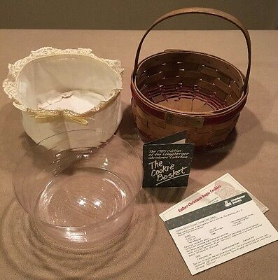 Longaberger 1985 Cookie Basket Fabric Liner, Protector, Product Card Recipe Card