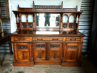 Fine Quality Victorian Walnut Mirror Back Sideboard