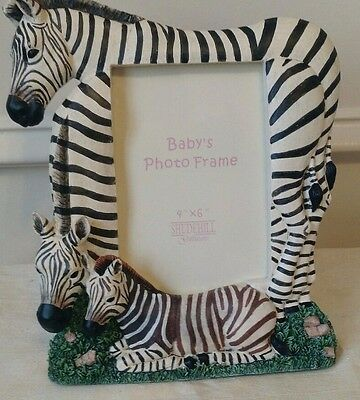 "ZEBRA PHOTO FRAME, 3 Zebra Design, 4"" x 6"", Easel Back, Heavy Resin/Ceramic"