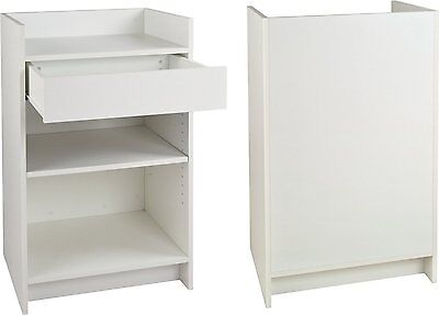 NEW White Checkout Counter Cash Register Showcase Display Cash Stand POS Unit