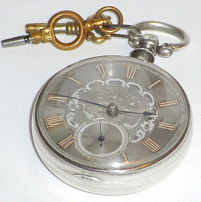 Antique Solid Sterling Silver Cased Assayed 1862 Fusee Pocket Watch,Dundee Maker