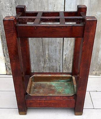 Antique Arts & Crafts Mission Oak Wood Umbrella Cane Stand w/ Copper Pan c. 1910