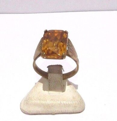 Vintage Excellent Early 20Th Century Bronze Ring With Yellow Stone # 16A