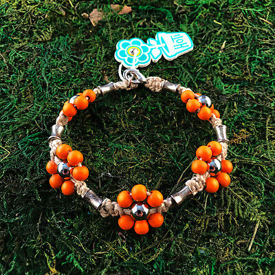 HOTI Hemp Handmade Natural Orange Flower Wood Beaded Anklet Ankle Bracelet NWT