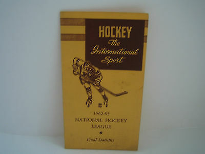 1962/63 Nhl Final Statistics Brochure***hockey The International Sport***